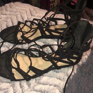 black gladiator heeled sandals